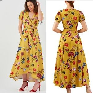 EShakti Yellow Bird Print Wrap Dress